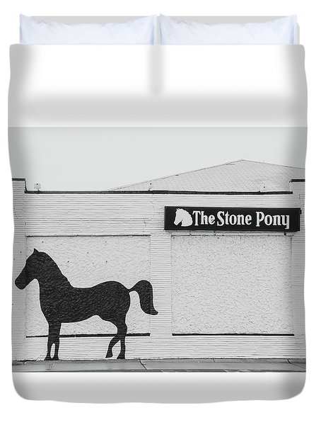 Duvet Cover featuring the photograph The Stone Pony - Asbury Park by Kristia Adams