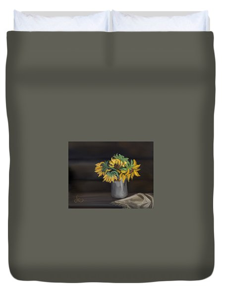 Duvet Cover featuring the painting The Sun Flowers  by Fe Jones