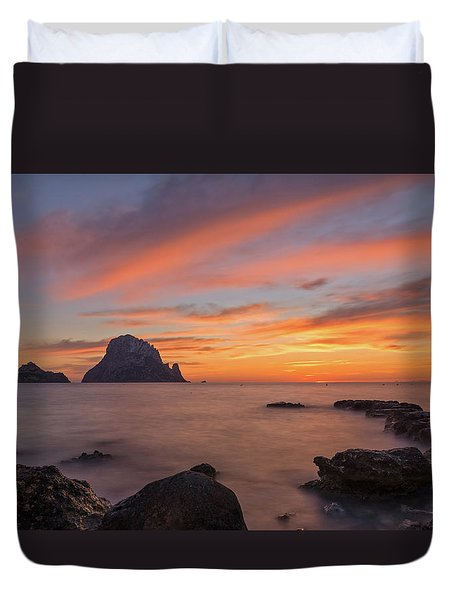 The Sunset On The Island Of Es Vedra, Ibiza Duvet Cover