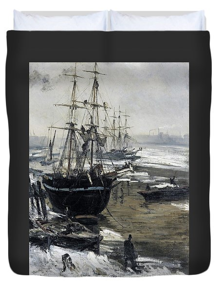 The Thames In Ice - Digital Remastered Edition Duvet Cover