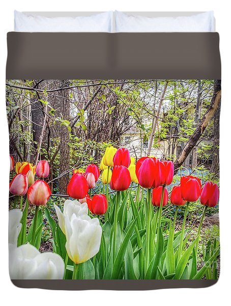 The Tulips Are Out. Duvet Cover