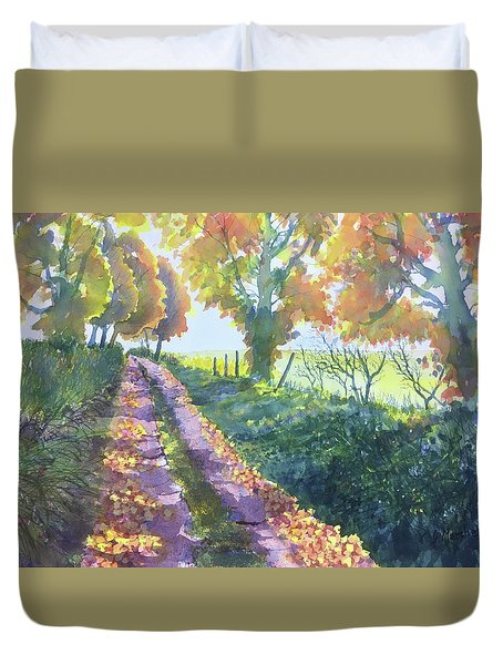The Tunnel In Autumn Duvet Cover