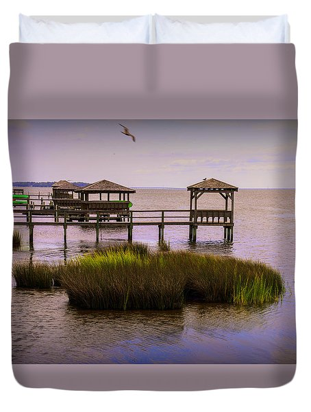 The Waterfront At Duck  Duvet Cover
