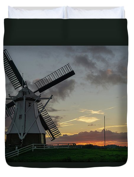 Duvet Cover featuring the photograph The White Mill by Anjo Ten Kate