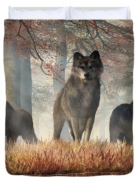 Duvet Cover featuring the digital art The Wolves Of Autumn by Daniel Eskridge