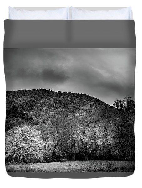 The Yellow Tree In Black And White Duvet Cover