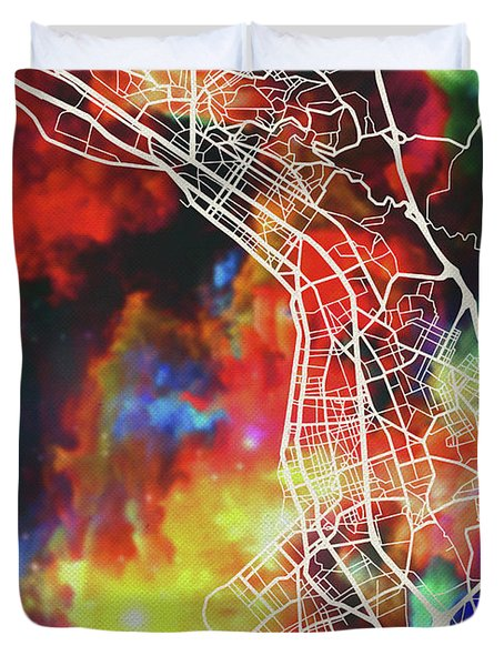 Thessaloniki Greece Watercolor City Street Map Duvet Cover