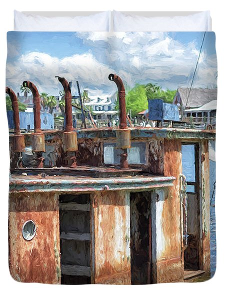 The Sunken Tugboat Fine Art Photography - Digital Painting By Mary Lou Chmura Duvet Cover
