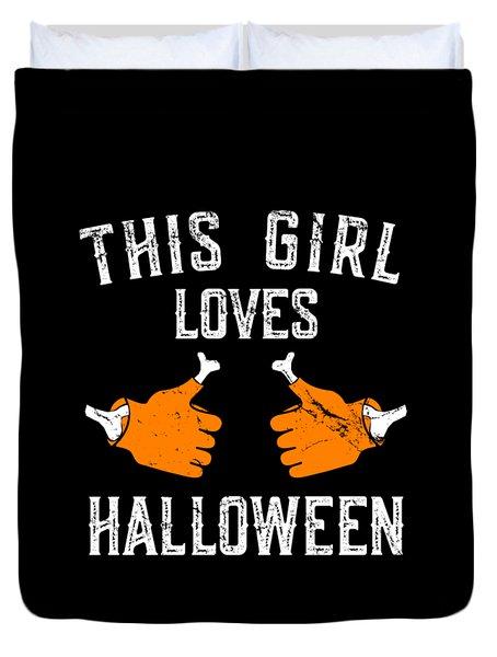 This Girl Loves Halloween Duvet Cover
