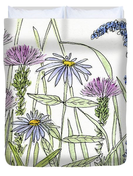 Thistle Asters Blue Flower Watercolor Wildflower Duvet Cover