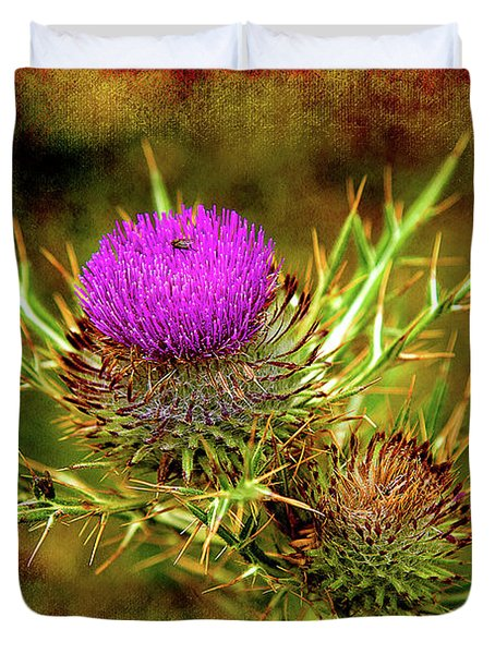 Duvet Cover featuring the photograph Thistle Life by Milena Ilieva