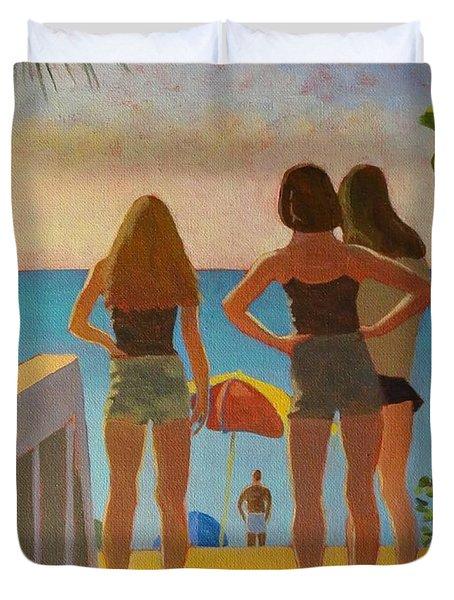 Three Beach Girls Duvet Cover