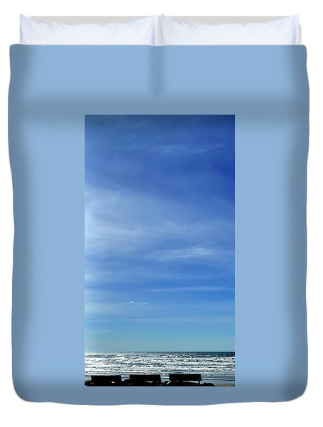 Duvet Cover featuring the photograph Three Benches At The Coast by Jerry Sodorff
