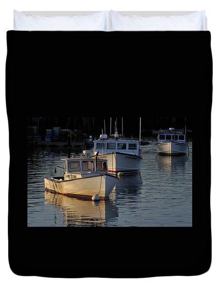 Three Boats In Maine Duvet Cover
