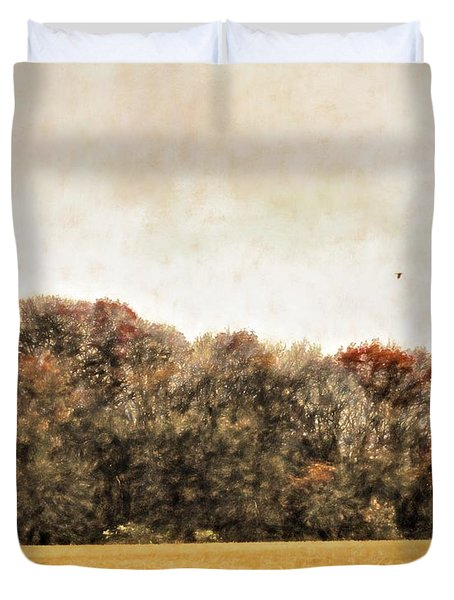 Three Crows And Golden Field Duvet Cover