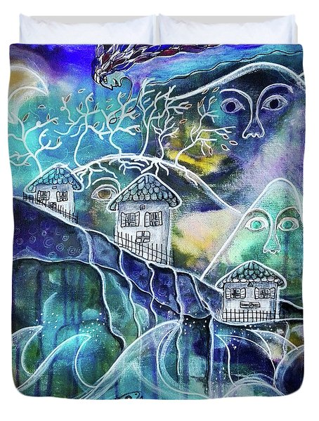 Three Houses On A Cliff Duvet Cover