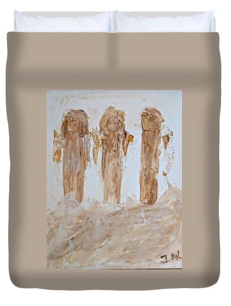 Three Little Muddy Angels Duvet Cover