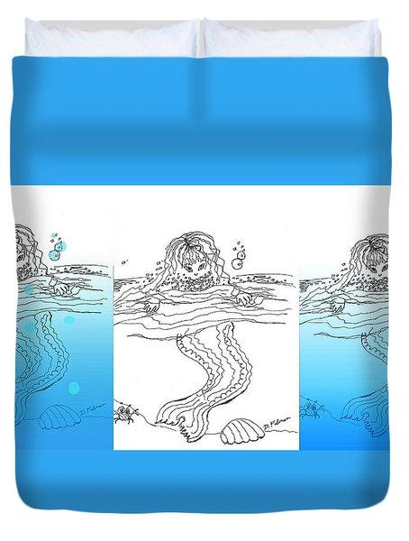 Three Mermaids All In A Row Duvet Cover
