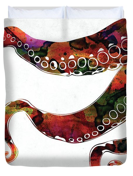Three Octopus Tentacles Colorful Watercolor Duvet Cover