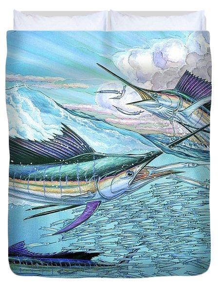 Three Sailfish And Bait Ball Duvet Cover
