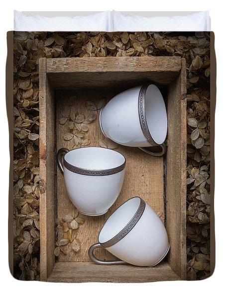 Three Tea Cups In A Wooden Box Duvet Cover