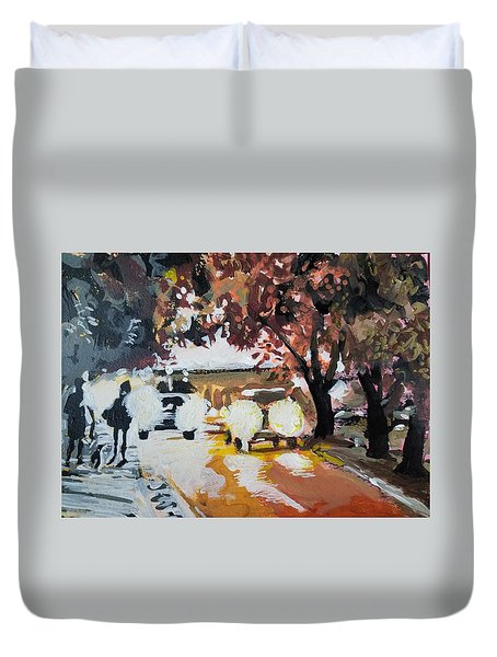 Early Morning Walk Duvet Cover