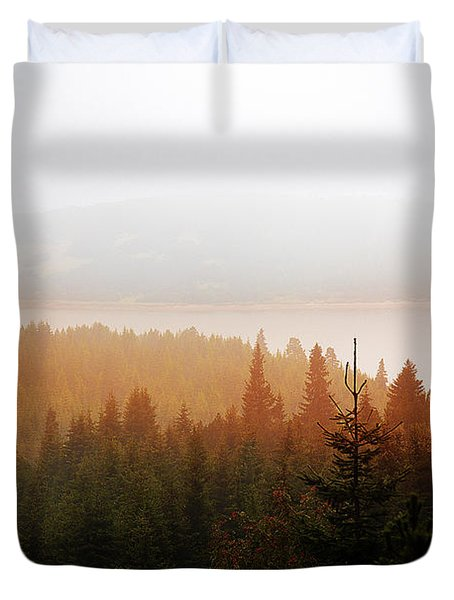 Duvet Cover featuring the photograph Through The Mist by Milena Ilieva