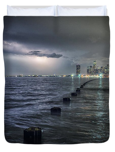 Thunder And Lightning In The Dark City Duvet Cover