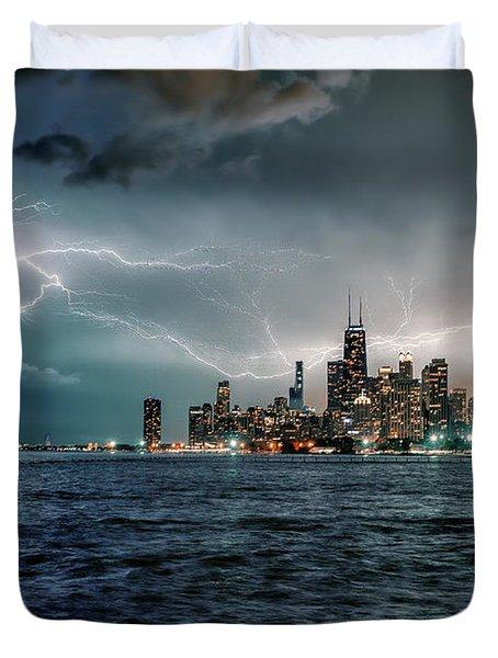 Thunder And Lightning In The Dark City II Duvet Cover