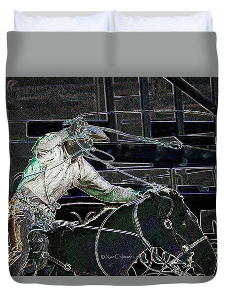 Tie Down Roper Starts His Run Duvet Cover