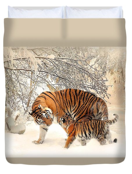 Tiger Family Duvet Cover