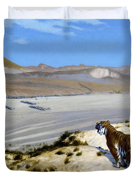 Tiger On The Watch - Digital Remastered Edition Duvet Cover