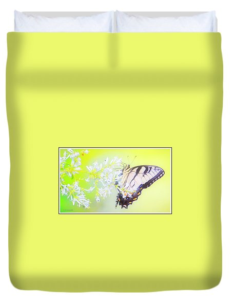 Tiger Swallowtail Butterfly On Privet Flowers Duvet Cover
