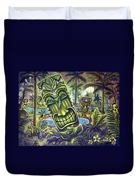 Tiki Genie's Sacred Pools Duvet Cover