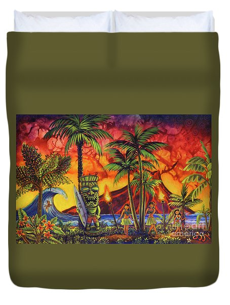 Tiki Surf A Lot Duvet Cover