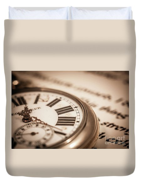 Time And Words Duvet Cover
