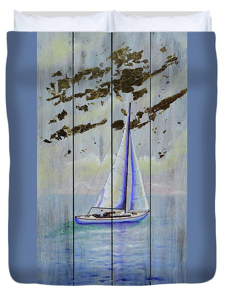 Duvet Cover featuring the painting Time To Sail by Mary Scott