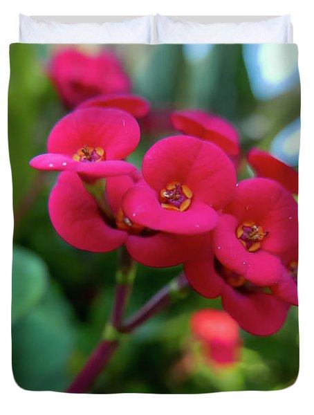 Tiny Red Flowers Duvet Cover