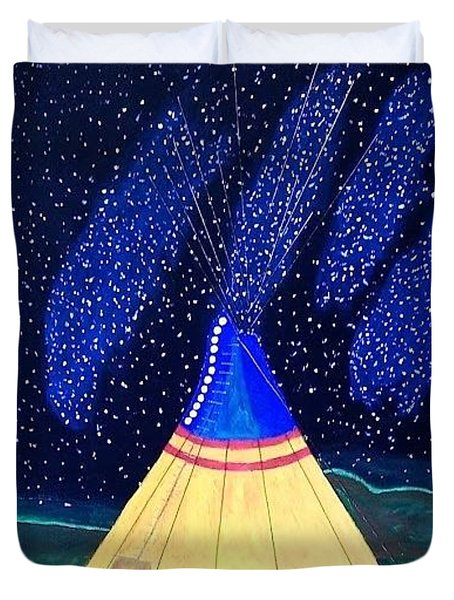 Tipi Under Milkey Way Duvet Cover