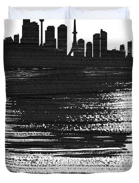 Tokyo Skyline Brush Stroke Black Duvet Cover