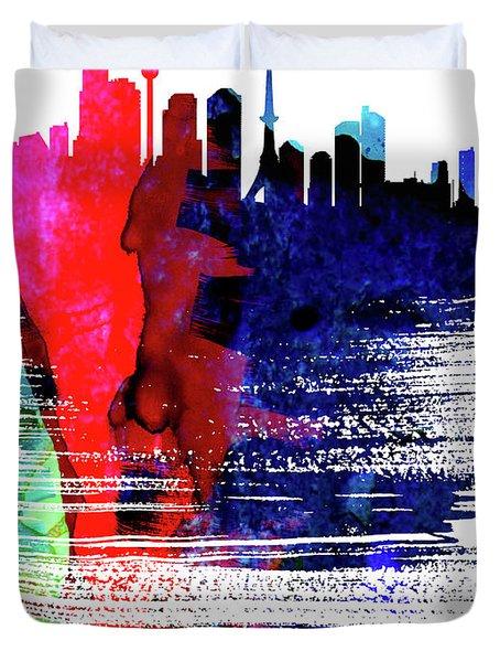 Tokyo Skyline Brush Stroke Watercolor   Duvet Cover