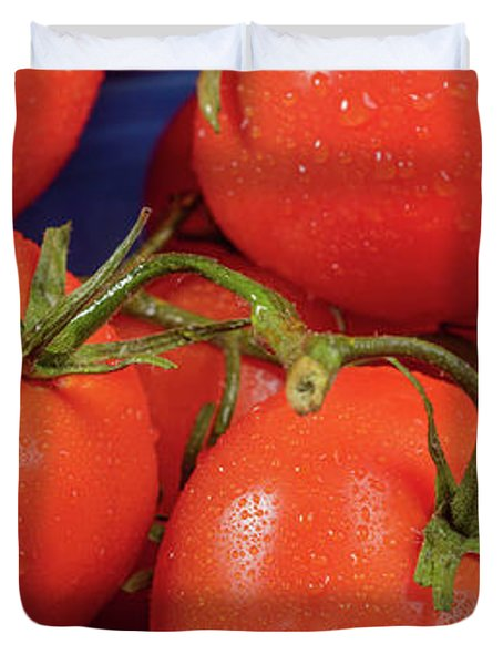 Tomatoes On The Vine In Blue Bowl Panorama Duvet Cover