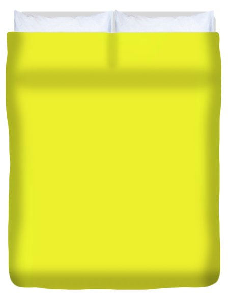 Top View Of Pineapple Border On Bright Yellow Background. Vivid  Duvet Cover