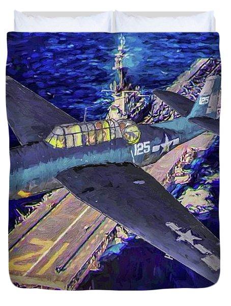 Torpedo Squadron Seventeen - Oil Duvet Cover