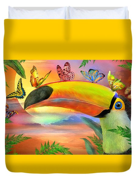 Duvet Cover featuring the mixed media Toucan And Butterflies by Carol Cavalaris