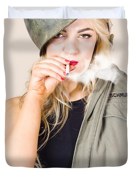 Tough And Determined Female Pin-up Soldier Smoking Duvet Cover