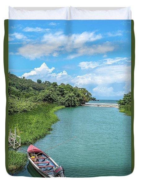 Tour Boat In Jamaica Duvet Cover