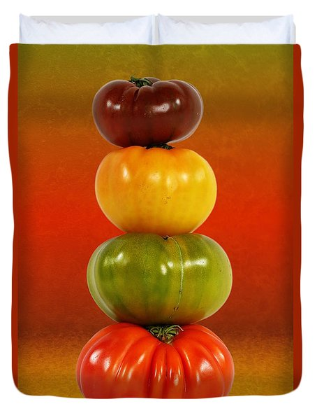 Tower Of Colorful Tomatoes Duvet Cover