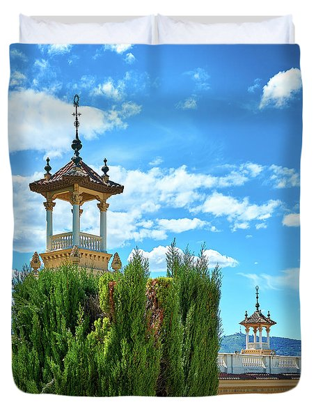 Duvet Cover featuring the photograph Towers And Blue Sky From Montjuic In Barcelona by Eduardo Jose Accorinti