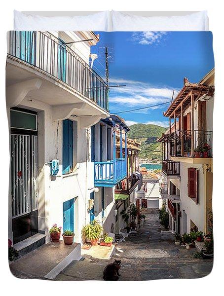 Town Of Skopelos Duvet Cover